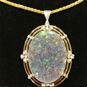 Large Opal Pendant with Diamonds